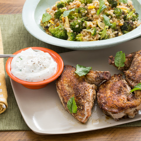 Za'atar Chicken Skewers & Lemon Yogurt Sauce with Roasted Broccoli, Apricots & Almonds