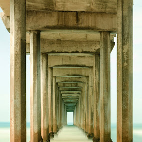 Underneath the pier by John Souza - Buildings & Architecture Architectural Detail ( water, sand, wave, sea, pier, ocean, beach )