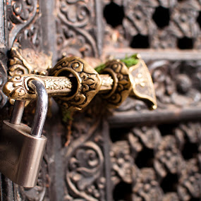 Lock by Garrett Dyer - Buildings & Architecture Architectural Detail ( engraving, lock, door, architecture, nepal )