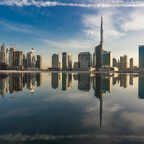 Real Reflections by Wissam Chehade - Landscapes Sunsets & Sunrises ( water, clouds, reflections, cityscape, waterscapes, landscape, city, sky, towers, dubai, blue, khalifa, burj, sunrise )