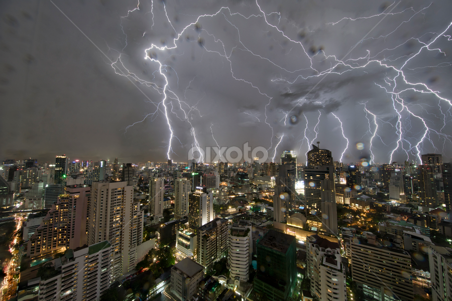 another rough night by Frank Photography - City,  Street & Park  Night ( thunder, bangkok, skyline, lightning, night, view, fear )