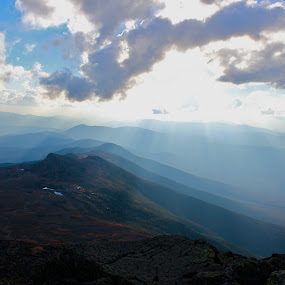 Mt. Washington Presidential   by Emily Jones - Landscapes Mountains & Hills ( clouds, mountains, blue, white mountains, sun )