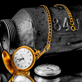 Golden Time by Greg Bennett - Artistic Objects Still Life ( time, pocket watch, 840, chain, black and white, still life, gold chain, pottery, pocket watches, retirement pocket watch, oil can )