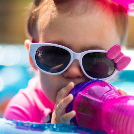 Drink by Todd Wallarab - Babies & Children Children Candids ( cup, water, girl, pool, drink, sunglasses )