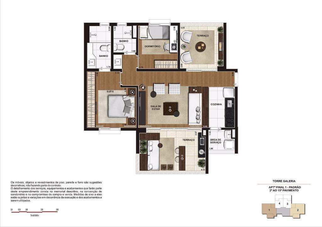 Planta 85 m² do 2 ao 15 Pavimento - Finais 1 e 2 (Torre Galeria)