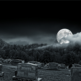 Forest Lawn Cemetery  by Dawn Vance - Digital Art Places ( clouds, mountains, moon, fog, grave, harvest, nightscape, graveyard )