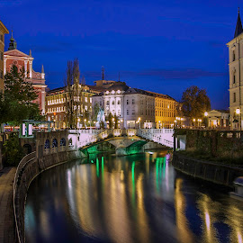 A Night in Ljubljana by Rashid Ramdan - Buildings & Architecture Public & Historical ( canon, slovenia, ljubljana, night, travel, cityscape, city, city at night, street at night, park at night, nightlife, night life, nighttime in the city )