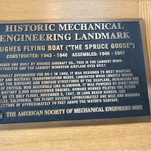 HISTORICAL MECHANICALENGINEERING LANDMARK HUGHES FLYING BOAT (