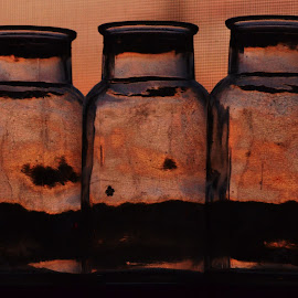 Bottled brothers  by Nik Atkins - Artistic Objects Glass ( window, sunset, summer, reflections, bottles )