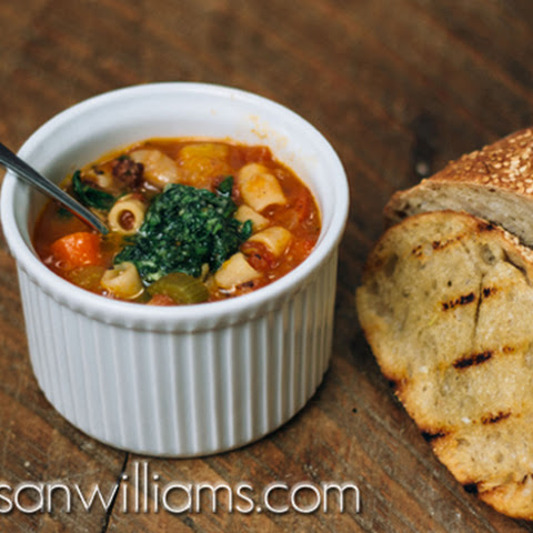 Minestrone with Garlic Bruschetta and Pesto