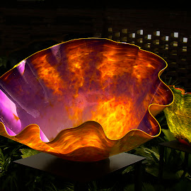 Chihuly Flower - Phipps 2007 by Dee Haun - Artistic Objects Glass ( artistic objects, orange, 070831fs0226ce10, glass, chihuly, purple, dark background, flower )