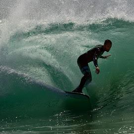 The Wedge Surfer by Jose Matutina - Sports & Fitness Surfing ( surfer, california, sport, newport beach, the wedge )