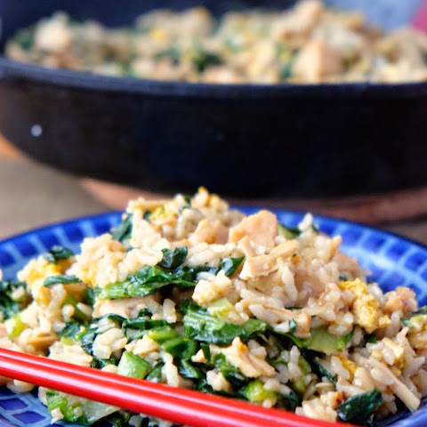Tatsoi Fried Rice with Turkey