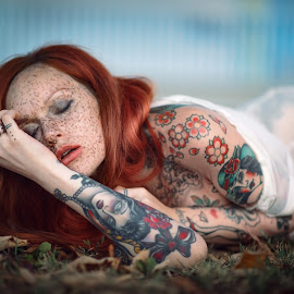 Selene Moonshine by Luca Foscili - People Body Art/Tattoos ( face, model, fashion, colorful, luca foscili photography, beauty, bokeh, photography, girl, d800, woman, italian photographer, inked, redhead, luca foscili, selene moonshine, nikon, italy, hair, light, ginger, beautiful, alternative, piercings, portrait, foscili, ink, nikon d800, outdoors )