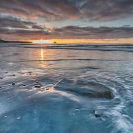 Rapahoe beach by Ian Pinn - Landscapes Beaches ( waves, sunset, tide, sea, beach, rocks, new zealand )