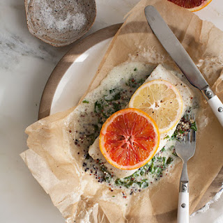 Halibut with Coconut Creamed Kale and Quinoa In a Papillote