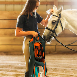 My Pretty Pony by Bill Tiepelman - People Street & Candids ( girl, barn, bag, horse, bar )