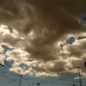 Clouds in Town by Nat Bolfan-Stosic - Uncategorized All Uncategorized ( clouds, wires, dark, town, storm )