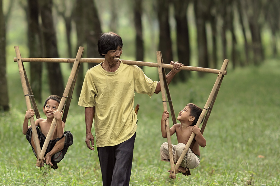 Balancing Act by Lucky E. Santoso - People Family ( dad with kids )