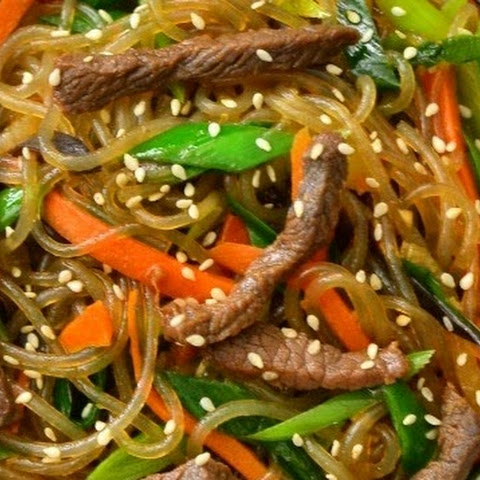 Japchae With Beef Bulgogi (Korean stir fried beef noodles with vegetables)