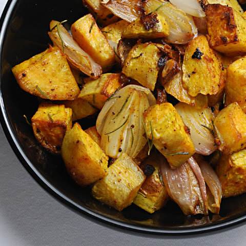 Roasted Sweet Potatoes with Shallots