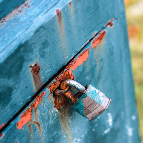 Rusted Lock by Devin Rieger - Artistic Objects Other Objects ( outdoors, lamp, lock, rust, light, city )