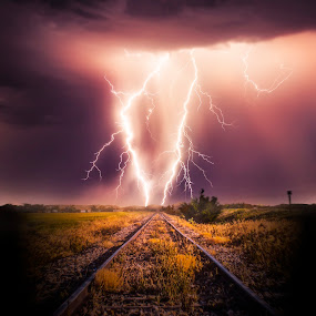 Lightning Road 3 by Glenn Patterson - Landscapes Weather ( lightning, mountains, sky, thunderstorm, weather, cloud, tracks, storm )