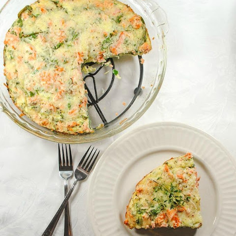 Healthy Salmon Crustless Quiche with Spinach and Sharp Cheddar Cheese