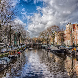 Amsterdam Canal by Adam Lang - City,  Street & Park  Neighborhoods ( water, holland, dutch, canal, netherlands, amsterdam canal )