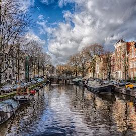 Amsterdam Canal by Adam Lang - City,  Street & Park  Neighborhoods ( water, holland, dutch, canal, netherlands, amsterdam canal )