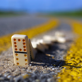 road trip by Earl Wyant - Artistic Objects Toys ( color, colors, street, toys, yellow, road, dominoes )
