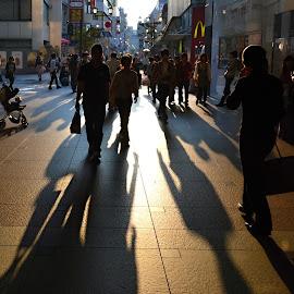 Sunset in Fukuoka. by Marcel Cintalan - People Street & Candids ( japan, sunset, fukuoka, shadows, street photography,  )
