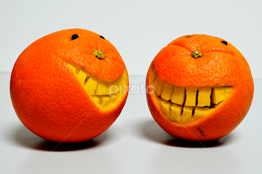 totally happy by Pete G. Flores - Food & Drink Fruits & Vegetables ( two, fruit, happy, pwcfruit, oranges, smile, eyes,  )