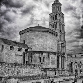 Split by Mislav Glibota - City,  Street & Park  Historic Districts ( b&w, sv.duje, croatia, split, dalmatia )