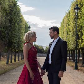 before wedding by Stephane Glesaz - Wedding Bride ( wedding, bride and groom, bride, parc, groom )