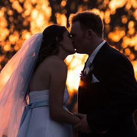 Sunset Romance by Sarah Sullivan - Wedding Bride & Groom ( love, wedding, sunset, bride, marriage, groom, sarah sullivan photography )