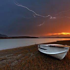 Thunders on Aliakmonas by Χρήστος Λαμπριανίδης - Landscapes Waterscapes