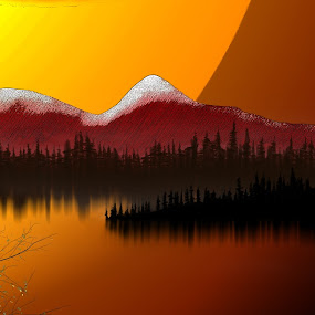 Eve  by Paul Griffin - Illustration Flowers & Nature ( setting, mountain, tree, nature, lake, sun )