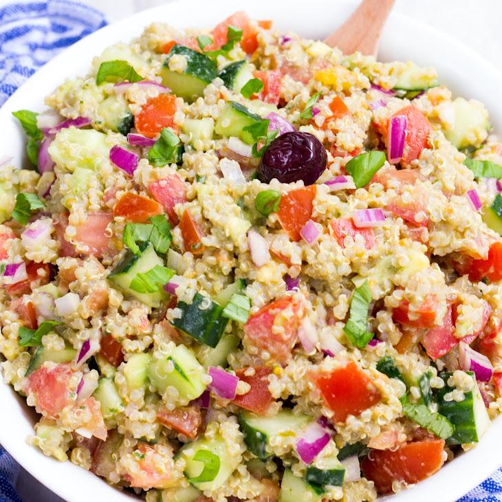 Pesto Quinoa Avocado Cucumber Tomato Salad Recipe | Yummly