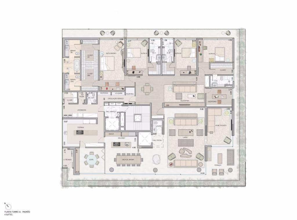 Planta Tipo - 4 Suítes - 549 m²