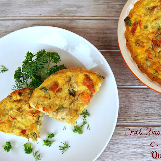 Crab and Smoked Salmon Crustless Quiche