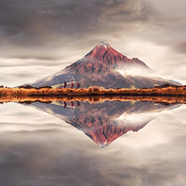 Mount Taranaki New Zealand by Anupam Hatui - Landscapes Mountains & Hills ( mirror, reflection, mountain, nature, waterscape, landscape )