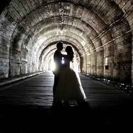 The Light of Life by Panait Sorin - Wedding Bride & Groom ( wedding, light, live )