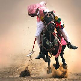 Got It. by Abdul Rehman - Sports & Fitness Other Sports ( horseback, beautiful light, rally, natural light, pakistan, sand, dust cloud, horse riding, horse, dust, sun light, sun )