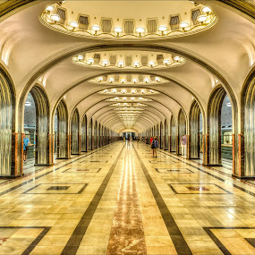 Mayakovskaya Metro Station, Moscow by Nick Moulds - Buildings & Architecture Other Interior ( station, metro, moscow, train, perspective, mayakovskaya,  )