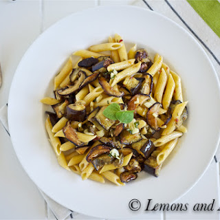 Penne with Roasted Shiitake Mushrooms, Eggplant and Sambal
