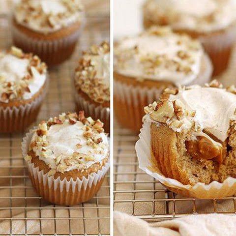 Caramel Cream-Filled Cupcakes with Cinnamon Frosting