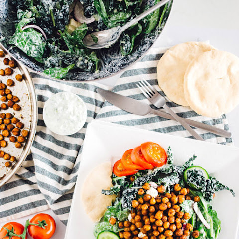 Roasted Chickpea Kale Salad with Tzatziki Dressing