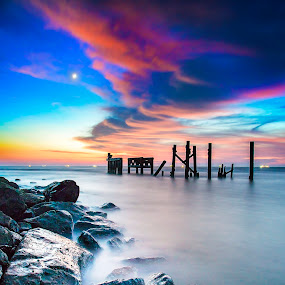 Miri Sunset by Andrew Micheal - Landscapes Sunsets & Sunrises ( sunset, waterscapes, , landscape, beach )