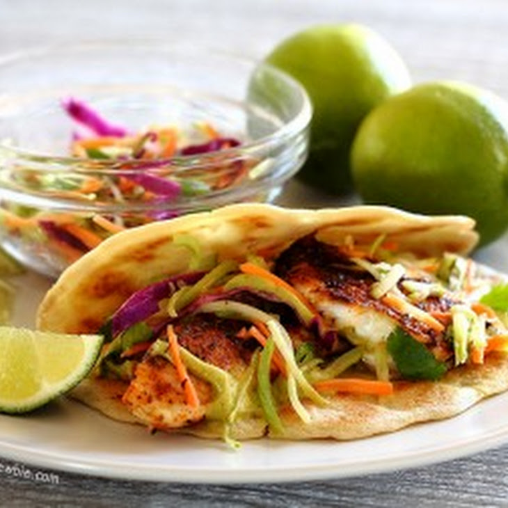 Spicy Tilapia Baja Tacos with Lime Slaw and Avocado Cilantro Sauce ...
